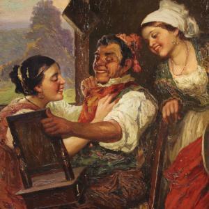 Ancien tableau italien scène d'intérieur du 19ème siècle