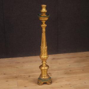 Torchère italienne laquée et dorée du 19ème siècle