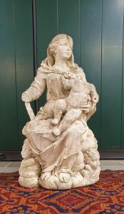 SCULPTURE EN PIERRE DE VICENZA DE 600 MADONNA AVEC ENFANT DROIT LE COURT 1627-1679