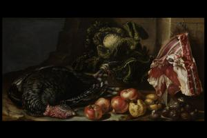 Bartolomeo Arbotori (Piacenza, 1594-1676) Nature morte aux fruits, légumes et dinde