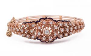 Bracelet en or et diamant et petits émaux de la fin du XIXe siècle