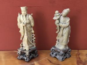 paire de figurines chinoises en jade