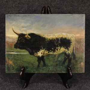 Tableau espagnol représentant un taureau de style impressionniste