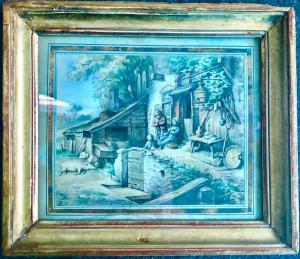 Paire d'aquarelles flamandes avec scènes de paysans.