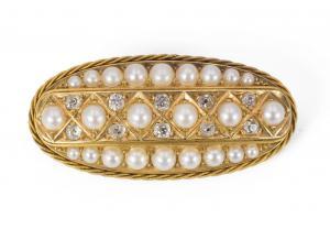Broche en or avec diamants taille ancienne et perles, début du 20e siècle