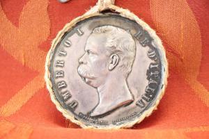 Pièce de collection rare en argent Umberto I roi d'Italie Milan exposition 1881 euro 270 négociable