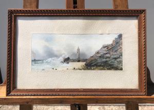 Peinture à la détrempe sur papier avec scène marine.