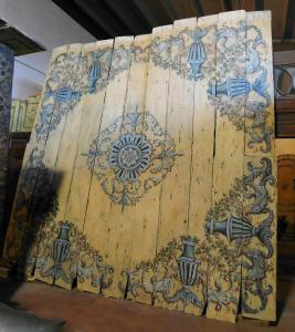 darb157 - plafond en bois laqué, période 6/700, cm 390 xh 380