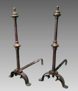 Grandi alari antichi, ferro, forgiati a mano, Italia, Toscana, XVII secolo