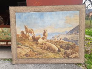 Grande peinture de paysage de montagne du 19ème siècle sur toile