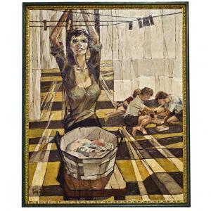 """Peinture italienne vintage, huile sur toile, """"Grey Sun"""" d'un film de Sophia Loren"""