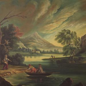 Tableau italien vue d'une rivière avec personnages