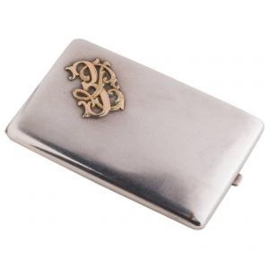 Porte-cigare italien antique en argent avec initiales en or