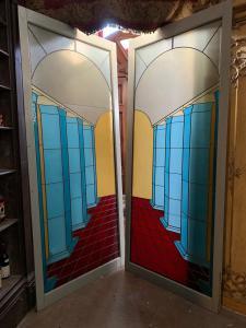 pan247 - paire de belles fenêtres au plomb, cm l 115 xh 262