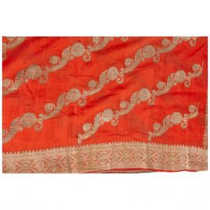 Sari indien ancien de couleur corail
