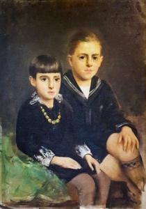 """""""Portrait de deux adolescents"""" - Peinture à l'huile sur toile de Luigi Serralunga, Peinture à l'huile sur toile de Luigi Serralunga"""