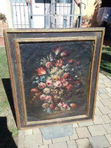 Peint avec des fleurs 90x110 avec cadre de boîte de 1600