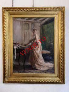 Peinture à l'huile sur toile de Giuseppe Ricci, représentant un intérieur avec une fille.