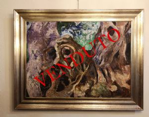 Peinture à l'huile sur toile, Carlo Levi / Carrubi d'Alassio 1972 avec une authentique fondation Carlo Levi
