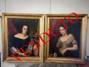 Paire de peintures interieures representant des filles, age: 1840