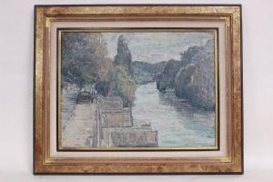 Peinture de paysage fluvial, huile sur toile, signée D.Recanzone