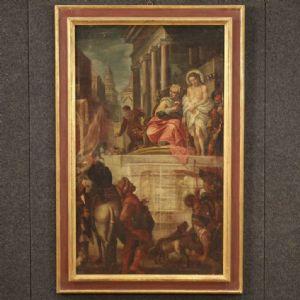 Ancien tableau italien Jésus et Hérode du 17ème siècle