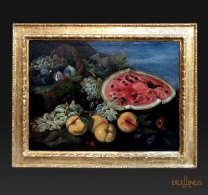 Peinture ancienne de Bartolomeo Castelli connu sous le nom de Spadino, nature morte