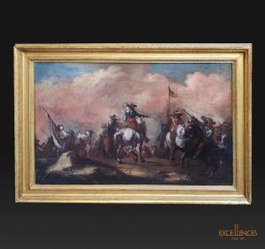 Antonio Maria Marini, ancienne peinture de bataille du 17ème siècle