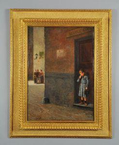 Antonio Varni : Enfant sortant de l'école, huile sur toile signée et datée