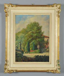 Berto Ferrari : Dans le parc de la Villa Rossi (Cà Cornaro) à Bassano del Grappa, huile sur toile