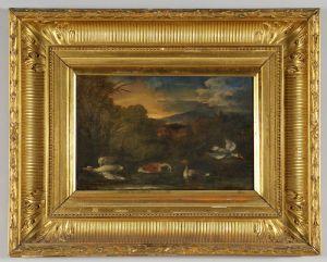 Ecole génoise du XVIIIe siècle - La faune des marais, huile sur toile dans cadre doré