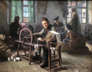 """""""Les dévideurs à l'asile de vieillards de Saint-Dié"""" Paul Descelles (1851-1915)"""