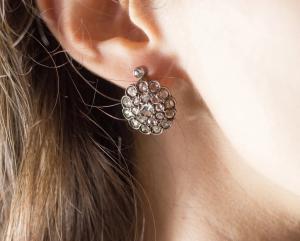 Boucles d'oreilles anciennes en or blanc avec diamants taille rose (4 ct), début des années 1900