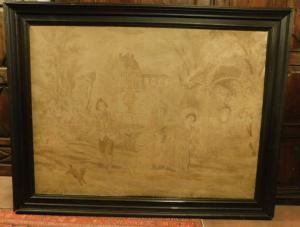 pan223 - tapisserie, 19ème siècle, mis. avec cadre 235 xh 183 cm