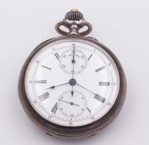 Chronographe de poche en argent fin 19ème siècle
