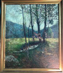 Peinture à l'huile sur toile avec paysage rural. Italie