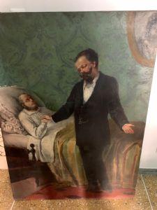 Grande peinture sur toile représentant Cavour. 130 x 100