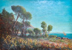 """""""Marina en Provence"""" - Huile sur toile début 1900, Huile sur toile début 1900"""