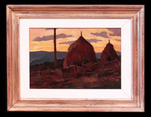"""Peinture à l'huile: """"Paysage avec des meules de foin"""" - Ecole Toscane '900"""