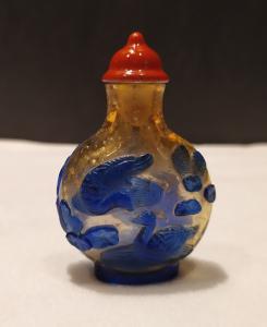 Snuff bottle, porta tabacco fiuto, oro vetro blu, Cina XX secolo