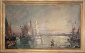 Marina avec des bateaux et des pêcheurs