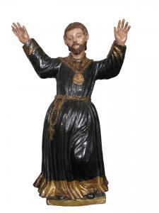 San Domenico di Guzman, sculpture en bois polychrome et doré, Espagne, 17e siècle.