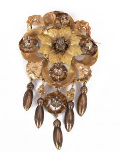 Broche en or avec diamants taille rose, fin du 19e siècle