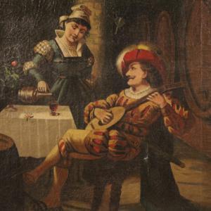 Tableau italien scène d'intérieur avec musicien