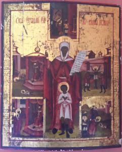 Ancienne icône représentant la vie d'un saint