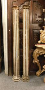 dars344 - n. 2 colonnes en bois, mis. cm 25 x cm 196 h