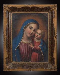 Dipinto antico olio su tela raffigurante Madonna col Bambino. Napoli XIX secolo.