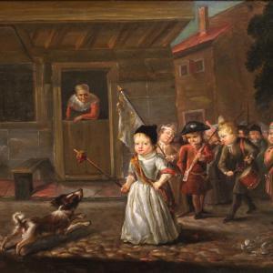 Tableau huile sur panneau du 19ème siècle
