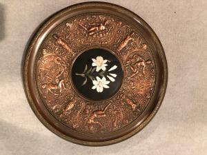 Plateau de table en métal avec micromosaïque 'usine de pierres dures'. Florence