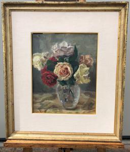 Peinture à l'huile sur toile représentant un vase avec des fleurs.Angleterre.